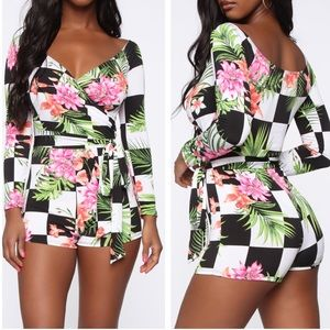 Fashion Nova Got My Heart Racing Romper R1237